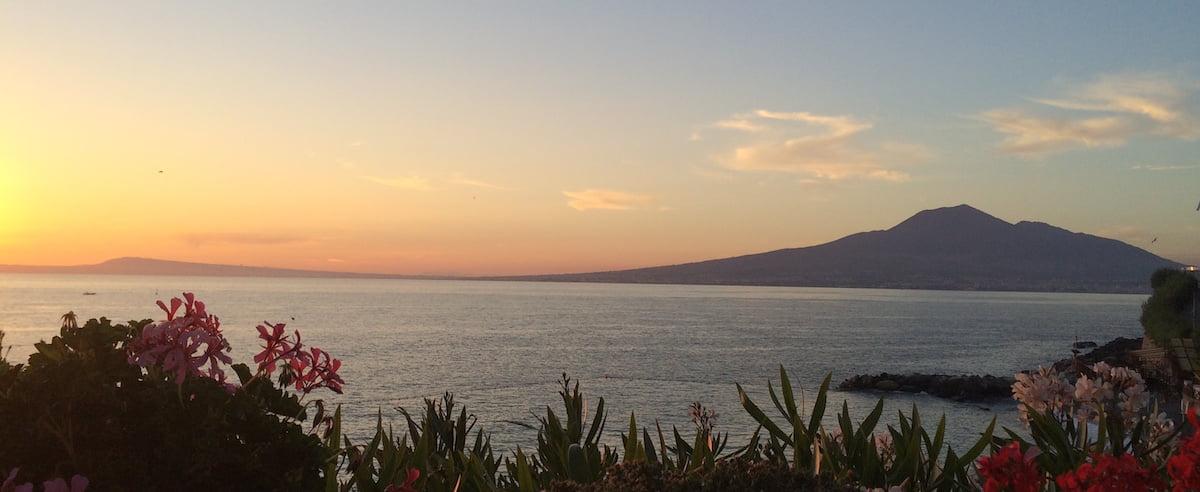 Volcano Mt. Vesuvius at sunset